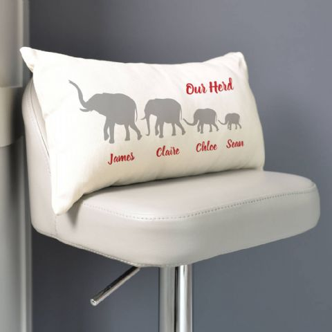 Personalised Herd Of Elephants Family Cushion